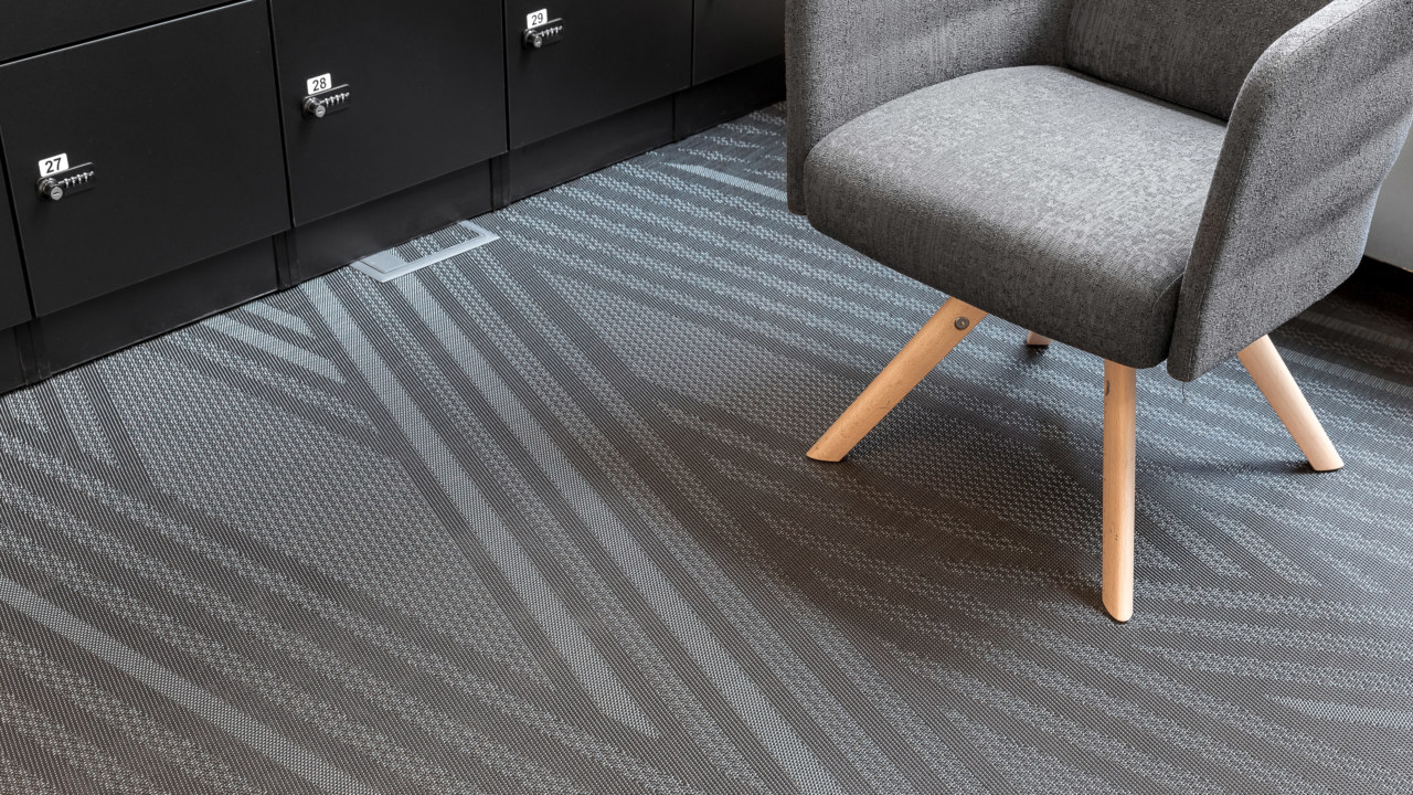Grey and white line, flooring design by Bolon