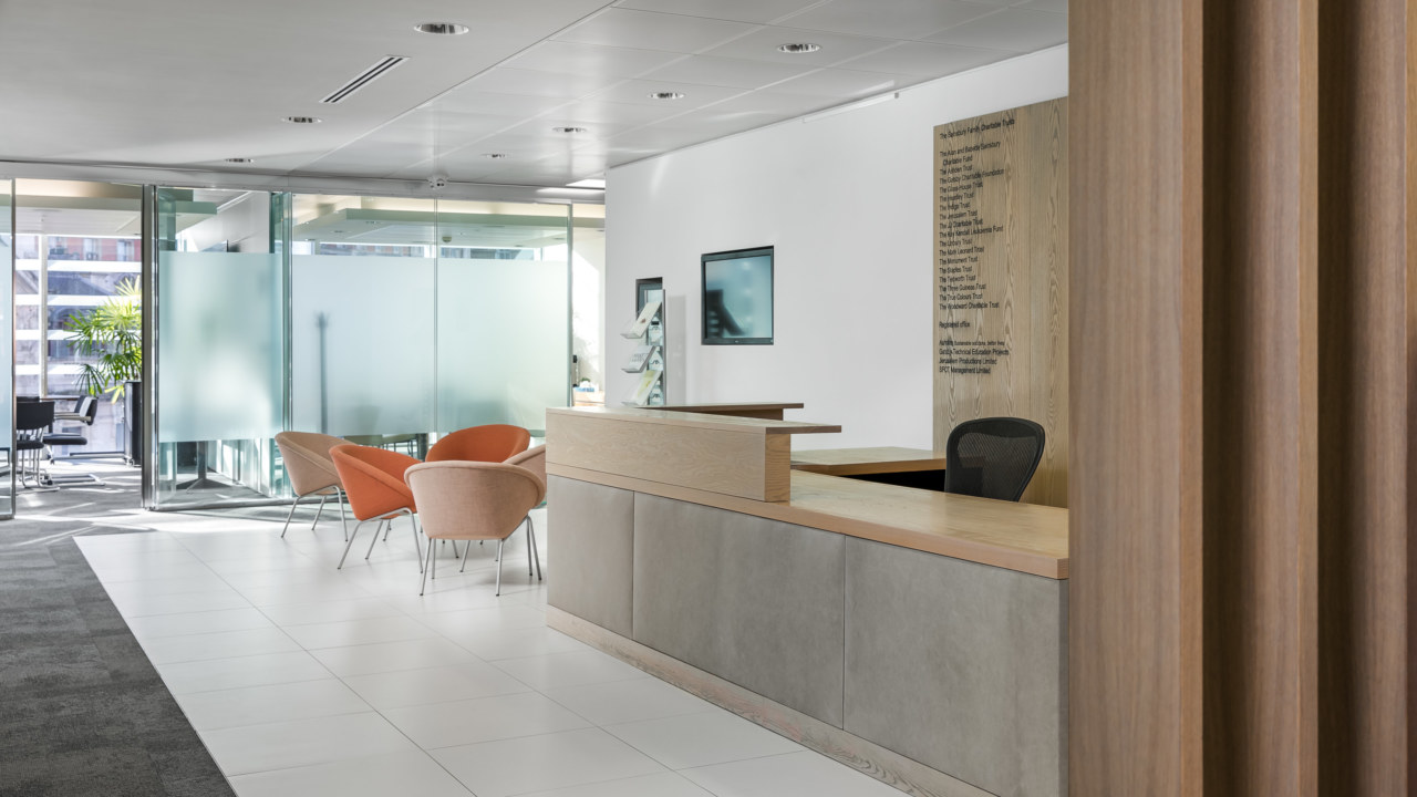 Reception desk and seating area